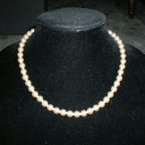 Vintage Glass Pearls Ivory Color 1.2oz Necklace